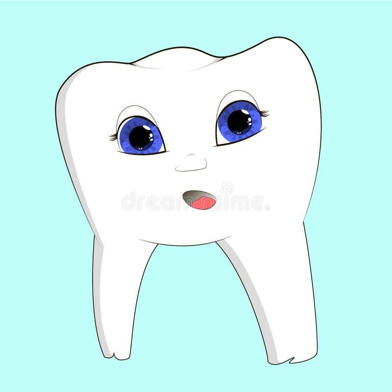 Kreskówka ząb na odosobnionym tle ilustracja wektor