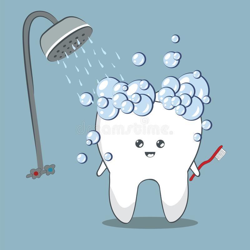 Kreskówka ząb w prysznic ilustracji