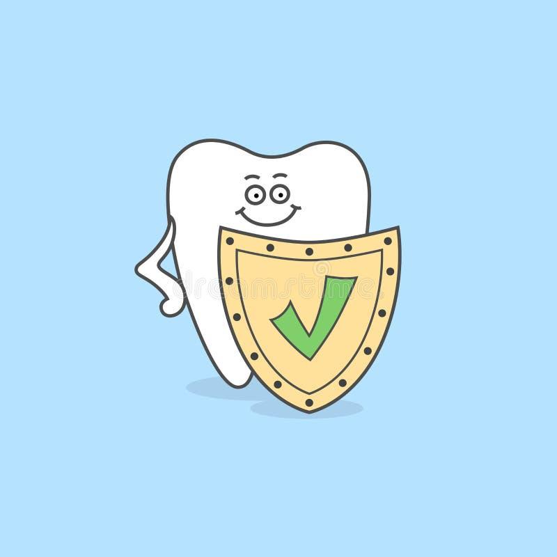 Kreskówka ząb z osłoną i czek oceną royalty ilustracja
