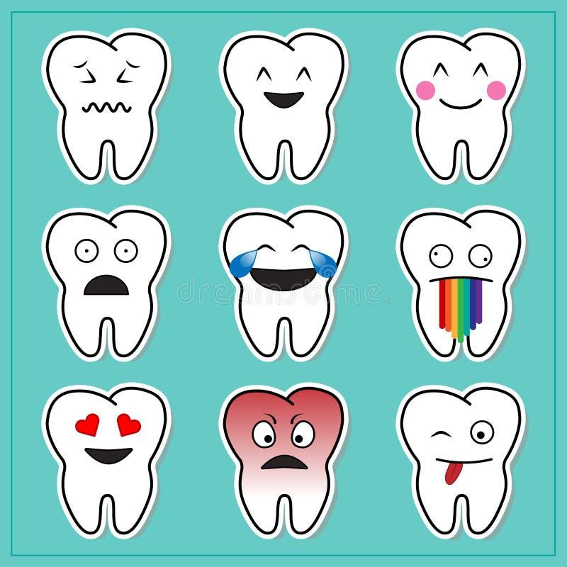 Kreskówka zębów Emoticons royalty ilustracja