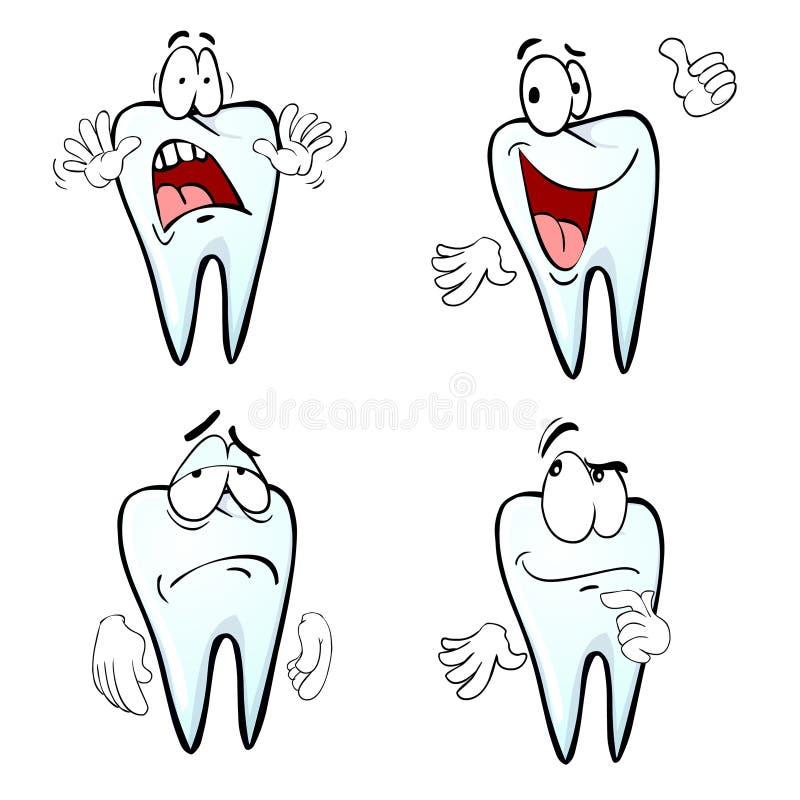 Kreskówka zębu emocje royalty ilustracja