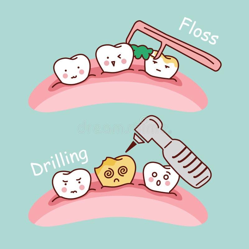 Kreskówka zębu musztrowanie i floss ilustracji