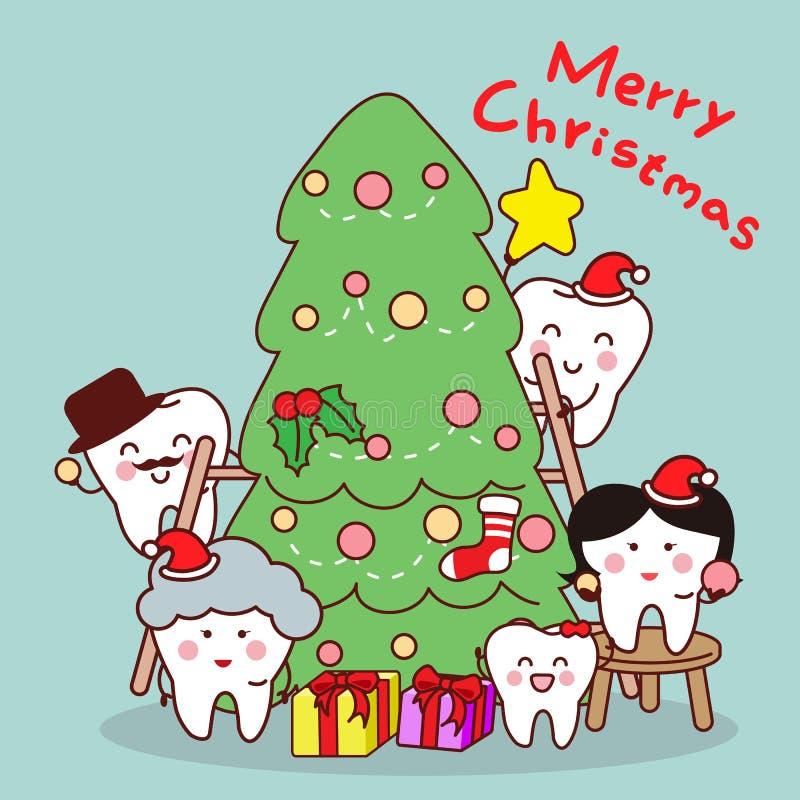 Kreskówka zębu rodzina świętuje boże narodzenia royalty ilustracja
