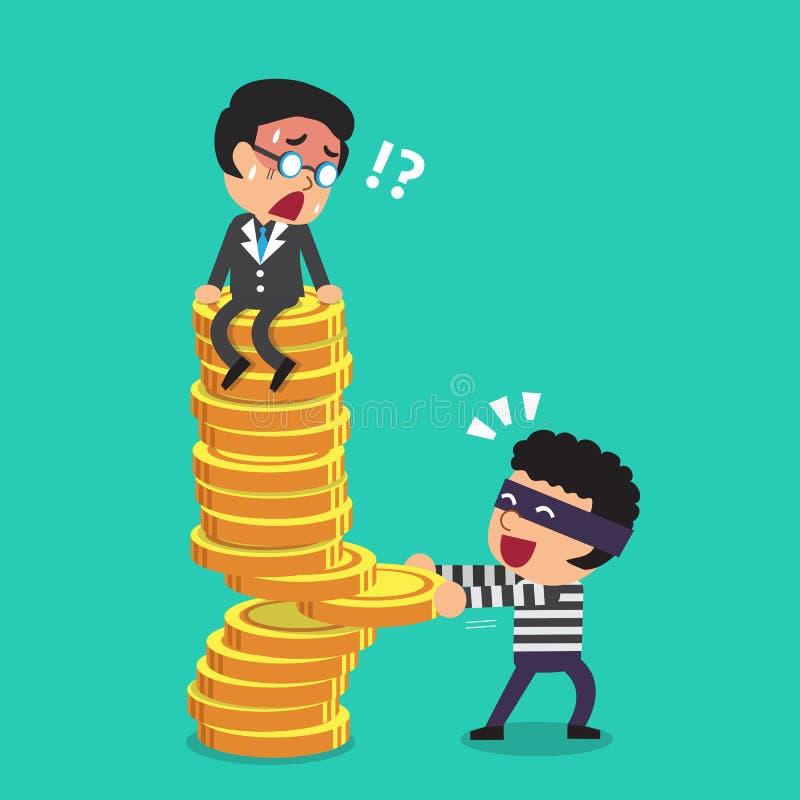 Kreskówka złodziej z pieniądze monet stertą i biznesmen royalty ilustracja