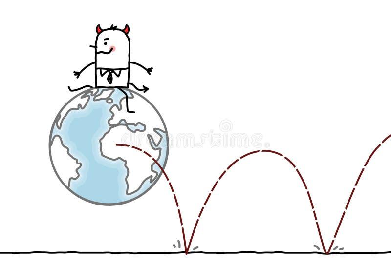 Kreskówka zły mężczyzna który bawić się i odbija się z ziemią ilustracja wektor