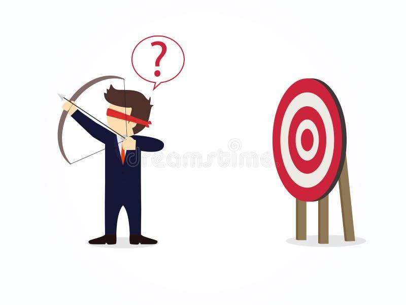 Kreskówka z zasłoniętymi oczami biznesmena mknący strzałkowaty chybienie cel Wektorowy infographic i ilustracji