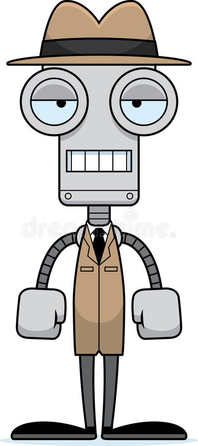 Kreskówka Zanudzający Detektywistyczny robot royalty ilustracja