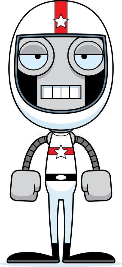 Kreskówka Zanudzający samochodu wyścigowego kierowcy robot ilustracja wektor