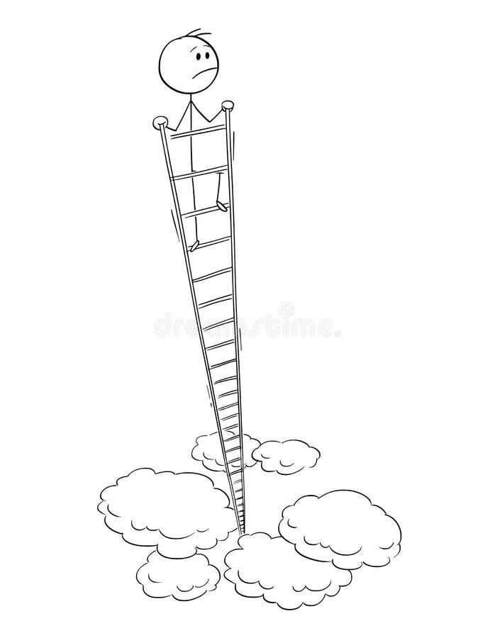 Kreskówka Zawodzący mężczyzna Patrzeje Wokoło Z wierzchu Bardzo Wysokiej drabiny biznesmen lub ilustracja wektor