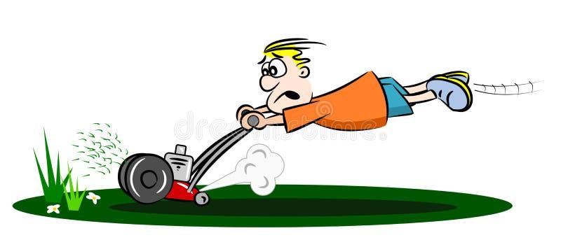 Kreskówka zbiega lawnmower