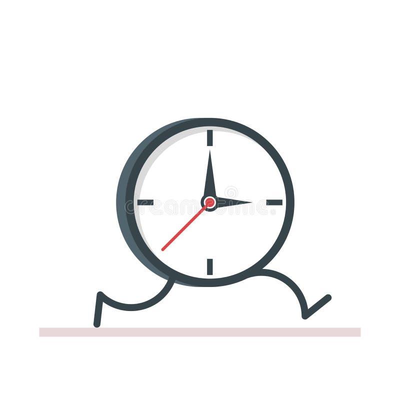 Kreskówka zegarowy bieg Płaski wektor, ilustracja odizolowywająca royalty ilustracja