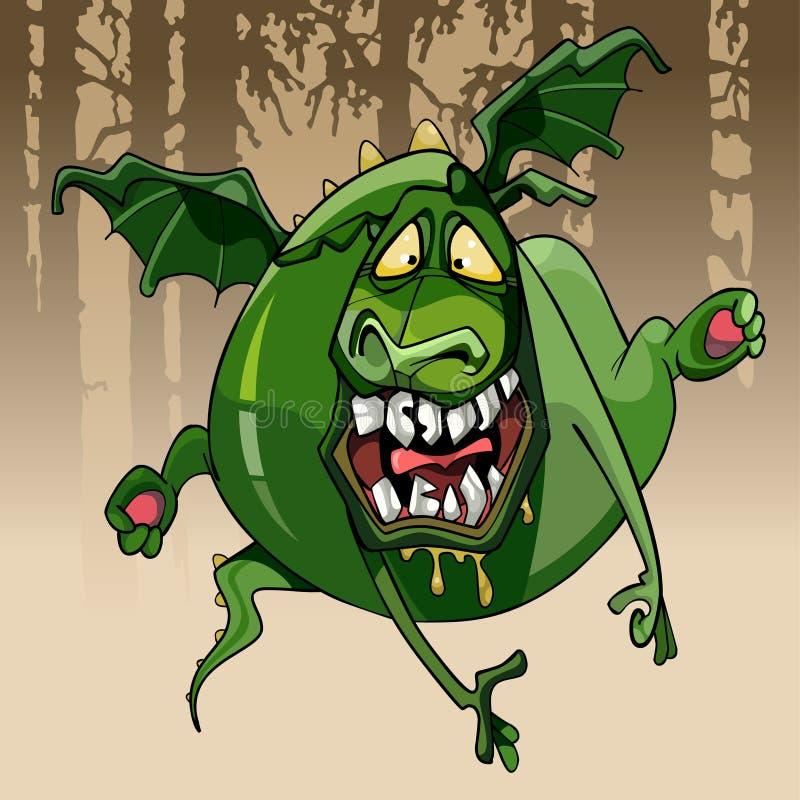 Kreskówka zielonego smoka śmieszny intrygujący toothy doskakiwanie ilustracji