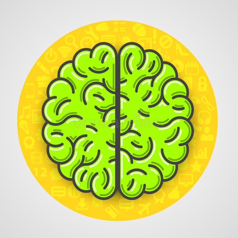 Kreskówka zielony mózg podpisuje wewnątrz żółtego okrąg z ikonami ilustracji
