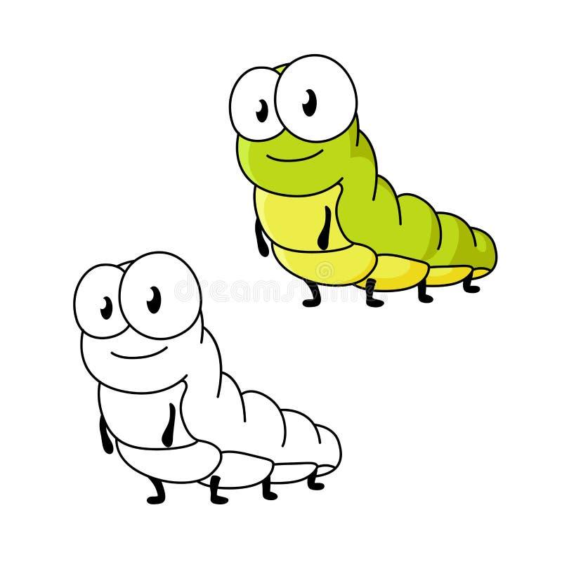 Kreskówka zielony motyli gąsienicowy insekt royalty ilustracja