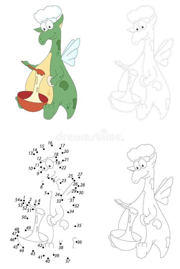 Kreskówka zielony smok ugniata ciasto w pucharze kropki gra ilustracja wektor