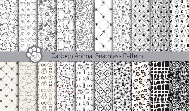 Kreskówka zwierzęcy bezszwowi wzory, deseniowi swatches zawierać royalty ilustracja