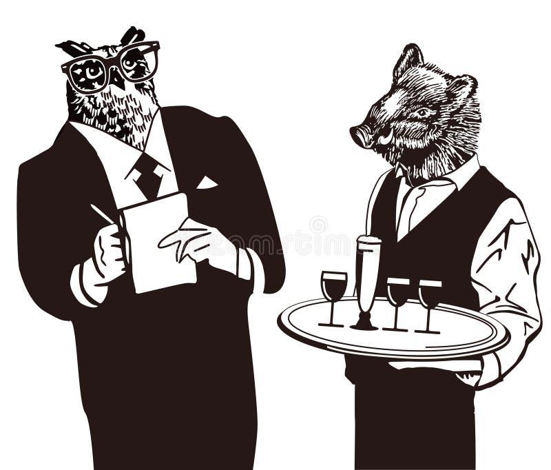 kreskówka zwierzęcy kelnery ilustracja wektor