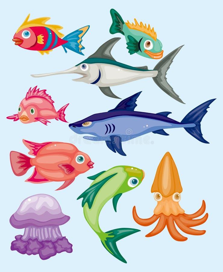 kreskówka zwierzęcy nadwodny set ilustracja wektor