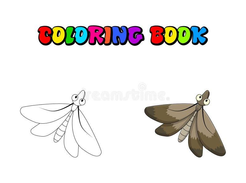 Kreskówki ćma kolorystyki książki insekt odizolowywający na białym tle royalty ilustracja