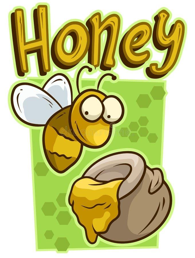 Kreskówki śliczna żółta pszczoła z miodową słoju wektoru ikoną royalty ilustracja