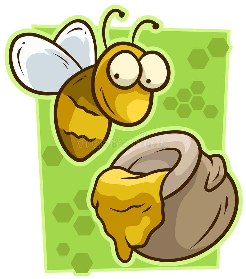 Kreskówki śliczna żółta pszczoła z miodową słoju wektoru ikoną ilustracja wektor