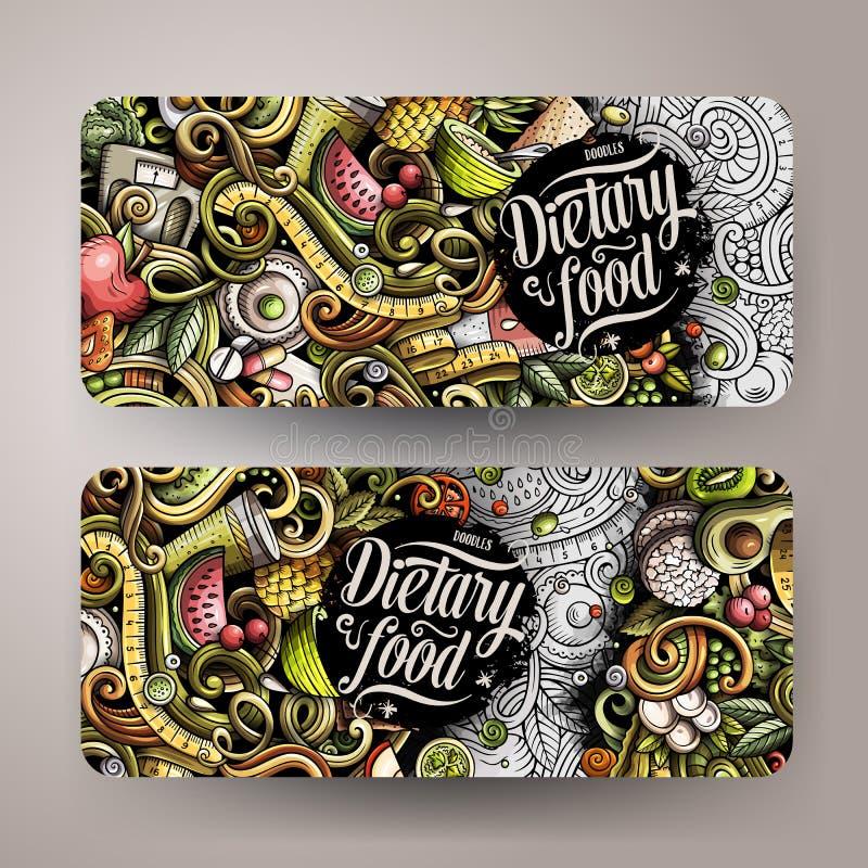 Kreskówki śliczna kolorowa wektorowa ręka rysująca doodles dieta karmowych pionowo sztandary royalty ilustracja