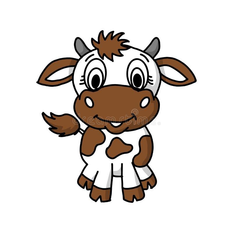 Kreskówki śliczna krowa na błękitnym tle, Wektorowa ilustracja ilustracji