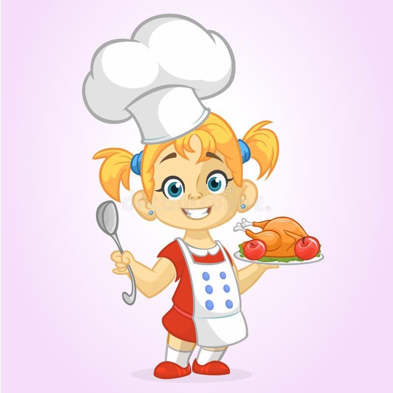 Kreskówki śliczna mała blond dziewczyna w fartucha i szefa kuchni ` s kapeluszowej porci piec dziękczynienie indyka royalty ilustracja