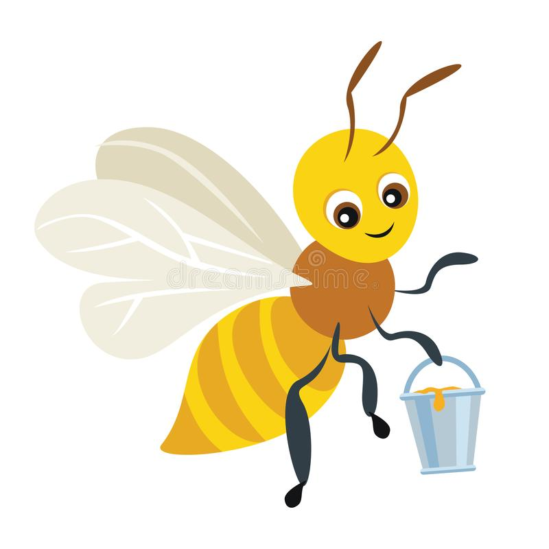 Kreskówki śliczna pszczoła z wiadrem pełno miód ilustracji