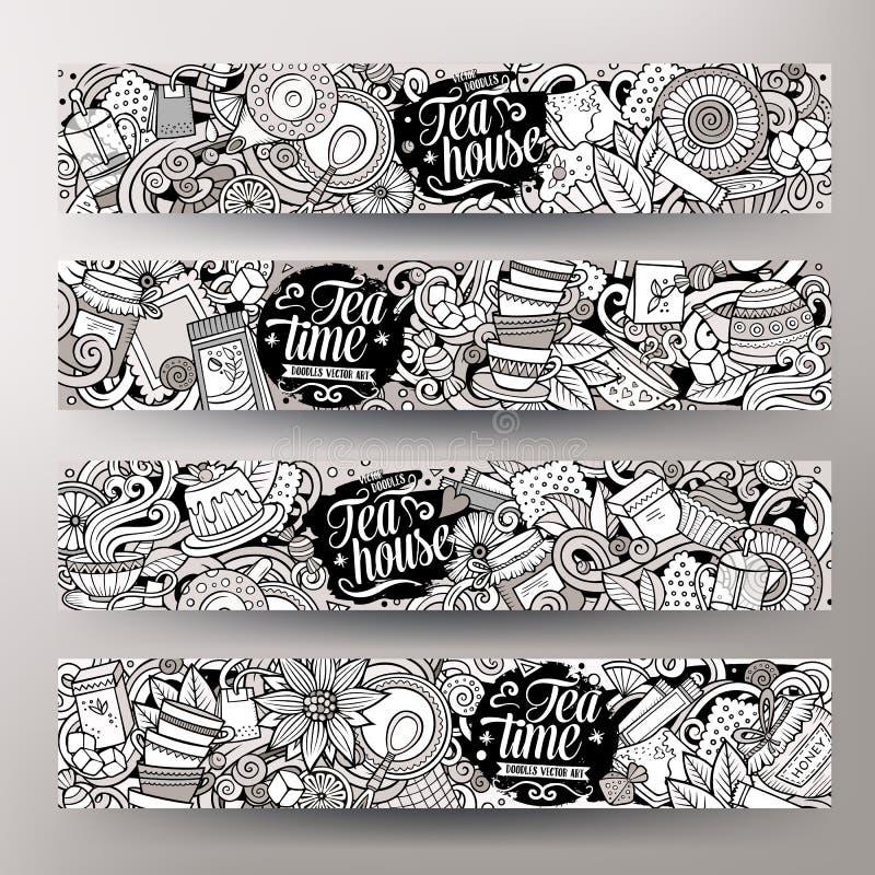 Kreskówki śliczna wektorowa ręka rysująca doodles pizzeria sztandary ilustracji