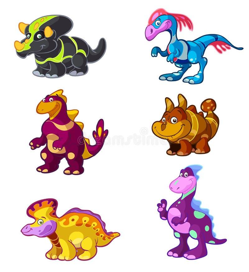 kreskówki śliczny Dino set ilustracja wektor