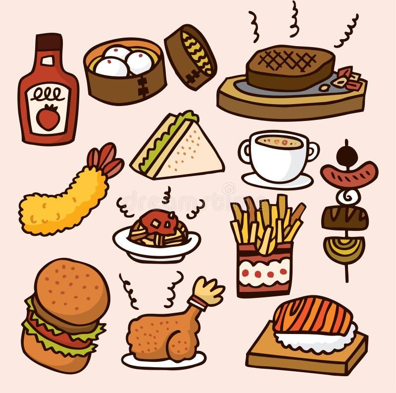 Kreskówki śliczny jedzenie ilustracji