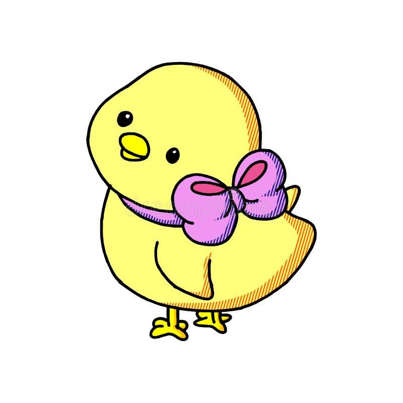 Kreskówki śliczny Wielkanocny dziecko chiken z łękiem odizolowywającym na białym tle ilustracji