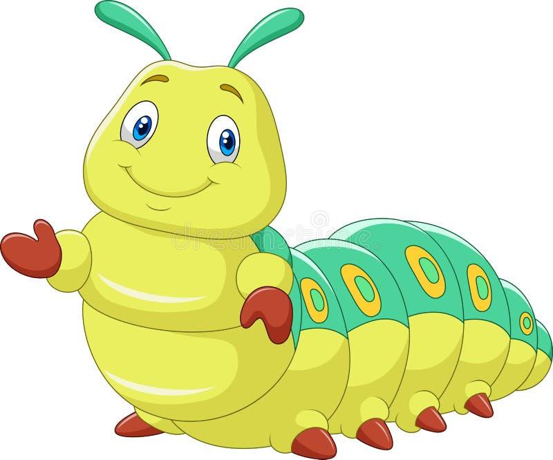Kreskówki śmieszna gąsienica przedstawia na białym tle ilustracji