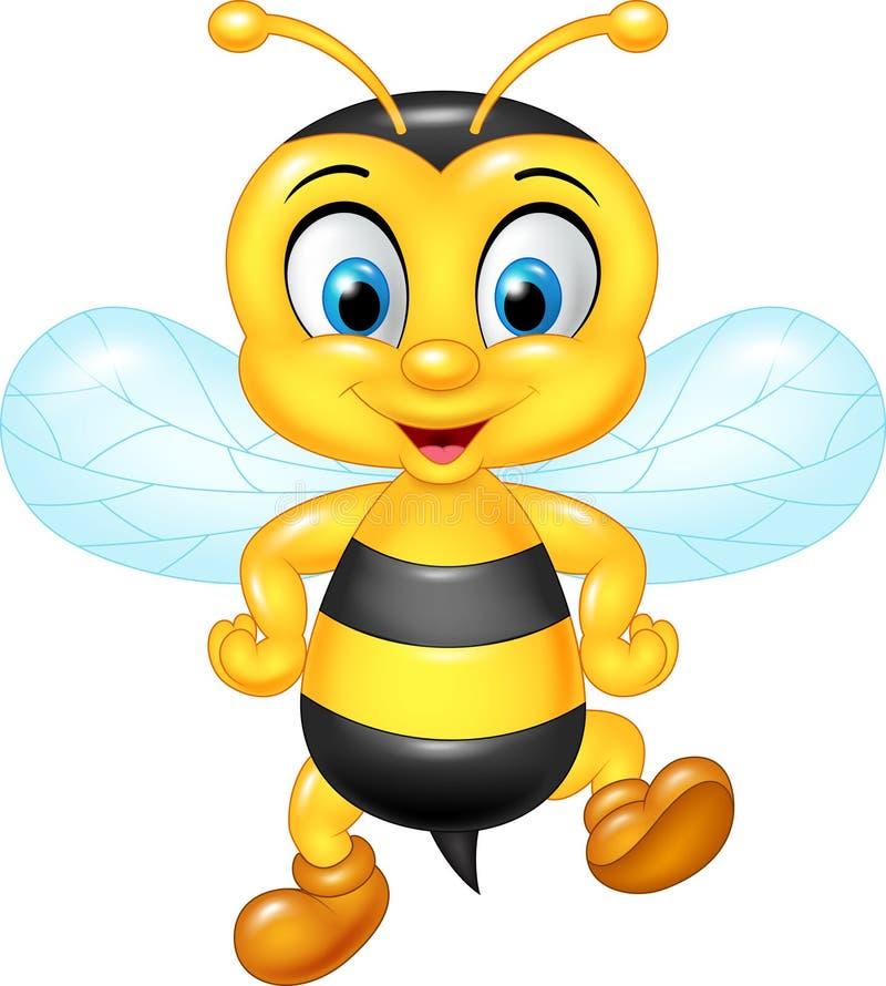Kreskówki śmieszna pszczoła pozuje na białym tle ilustracja wektor
