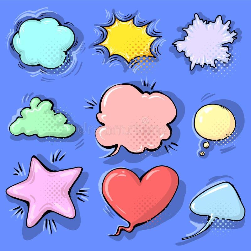 Kreskówki śmiesznej komiczki mowy puści bąble ustawiają na kolorowym tle Wektorowa ilustracja, dziecięcy projekt, wystrzał sztuki ilustracja wektor