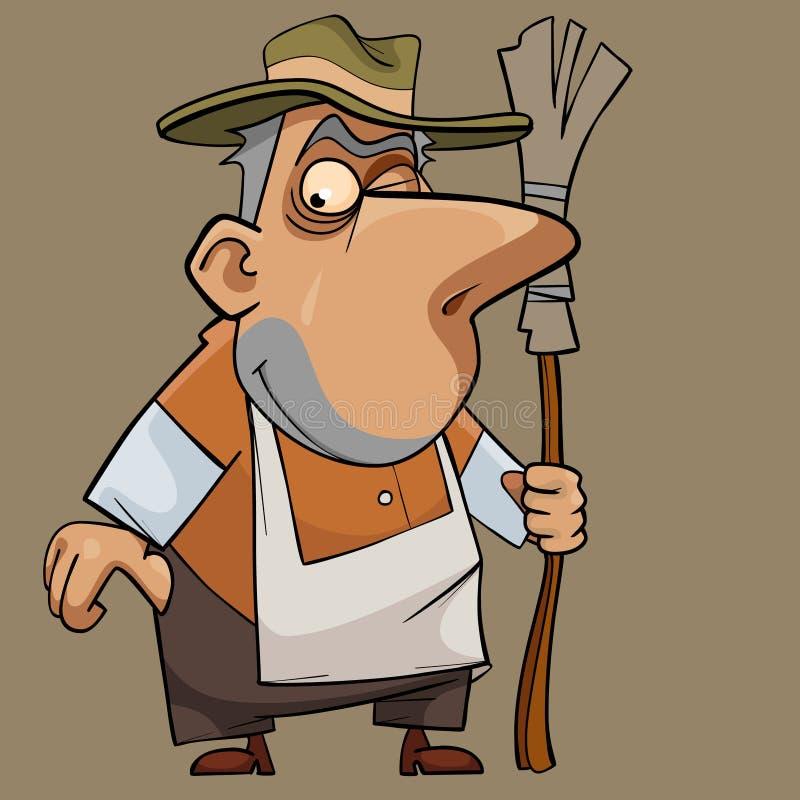 Kreskówki śmieszny życzliwy męski janitor z miotłą royalty ilustracja