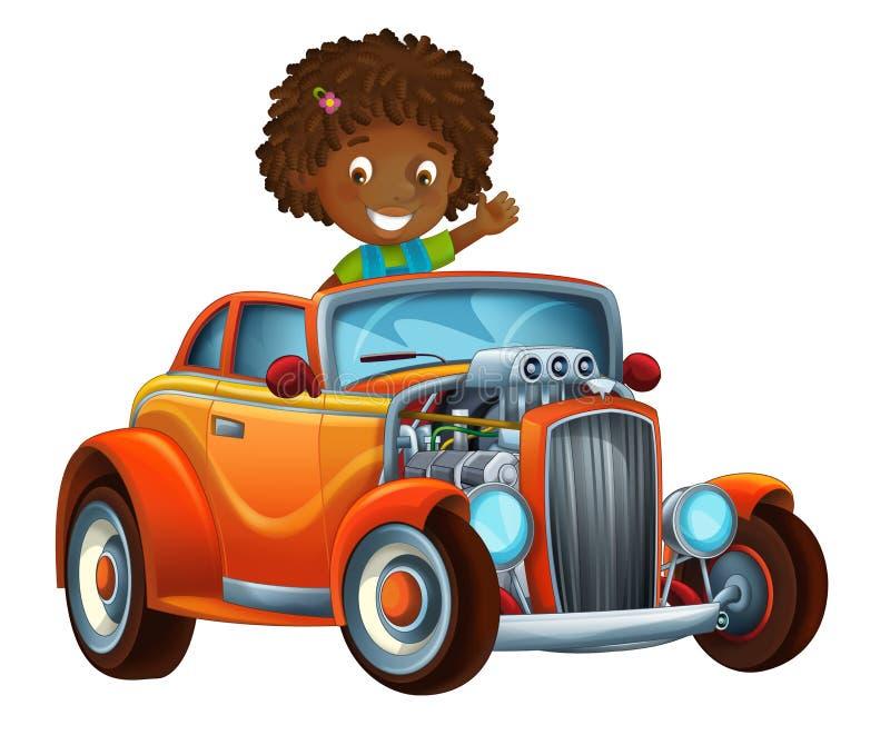 Kreskówki śmieszny i szczęśliwy przyglądający dziecko - dziewczyna w bieżnym samochodzie na biegowym śladzie royalty ilustracja