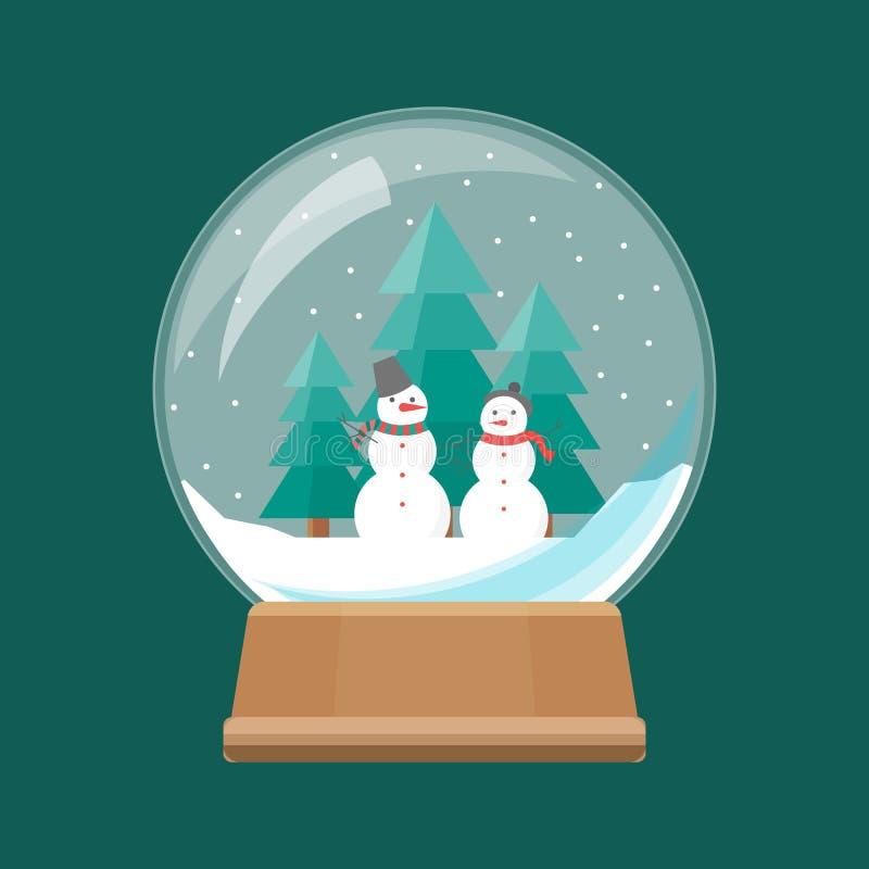 Kreskówki Śnieżna kula ziemska z Białymi bałwanami wektor ilustracja wektor