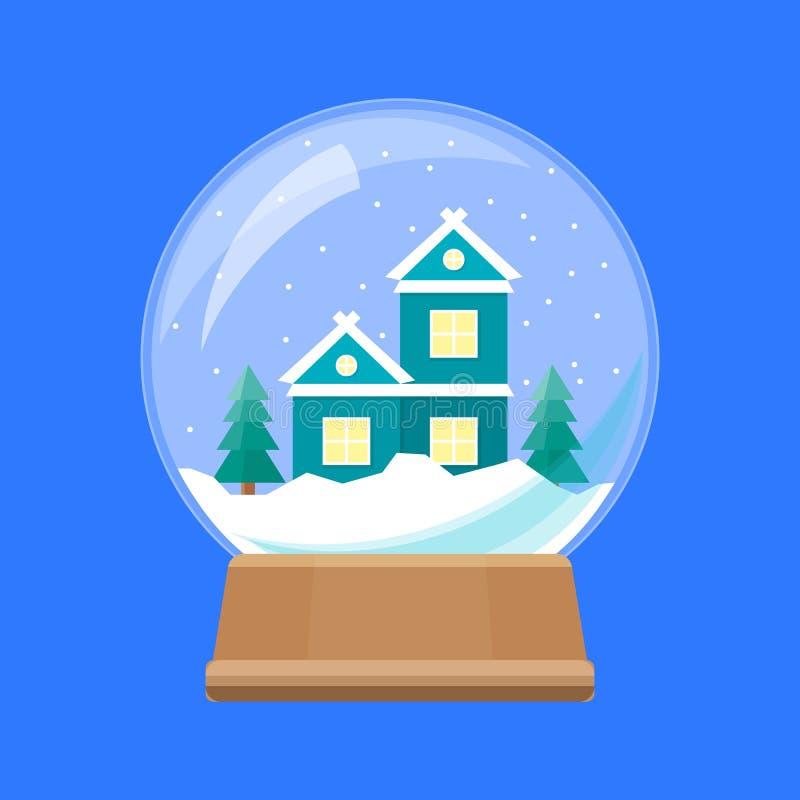 Kreskówki Śnieżna kula ziemska z Domowym budynkiem wektor ilustracji