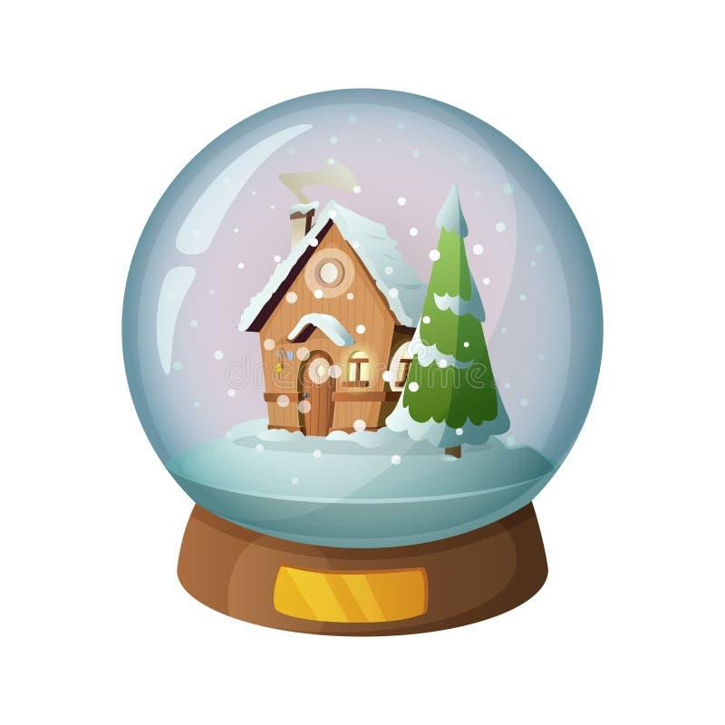 Kreskówki śnieżna szklana kula ziemska z boże narodzenie domem inside również zwrócić corel ilustracji wektora ilustracji
