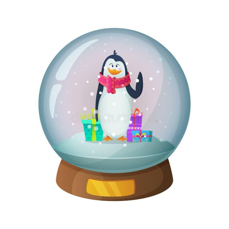 Kreskówki śnieżna szklana kula ziemska z pingwinu charakterem inside również zwrócić corel ilustracji wektora royalty ilustracja