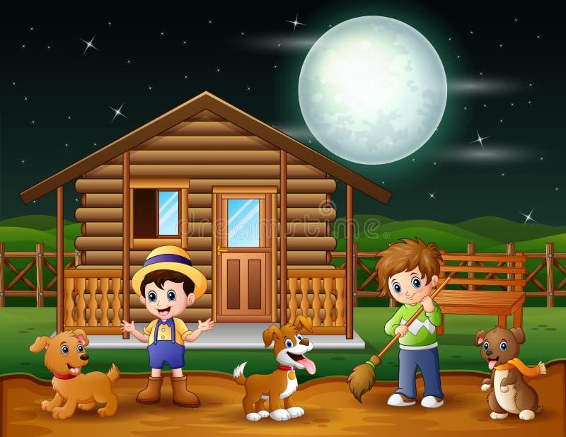 Kreskówki średniorolny działanie na farmyard ilustracja wektor