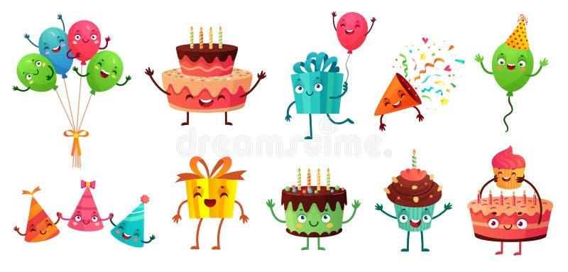 Kreskówki świętowania urodzinowy set Przyjęcie szybko się zwiększać z śmiesznymi twarzami, wszystkiego najlepszego z okazji urodz ilustracja wektor