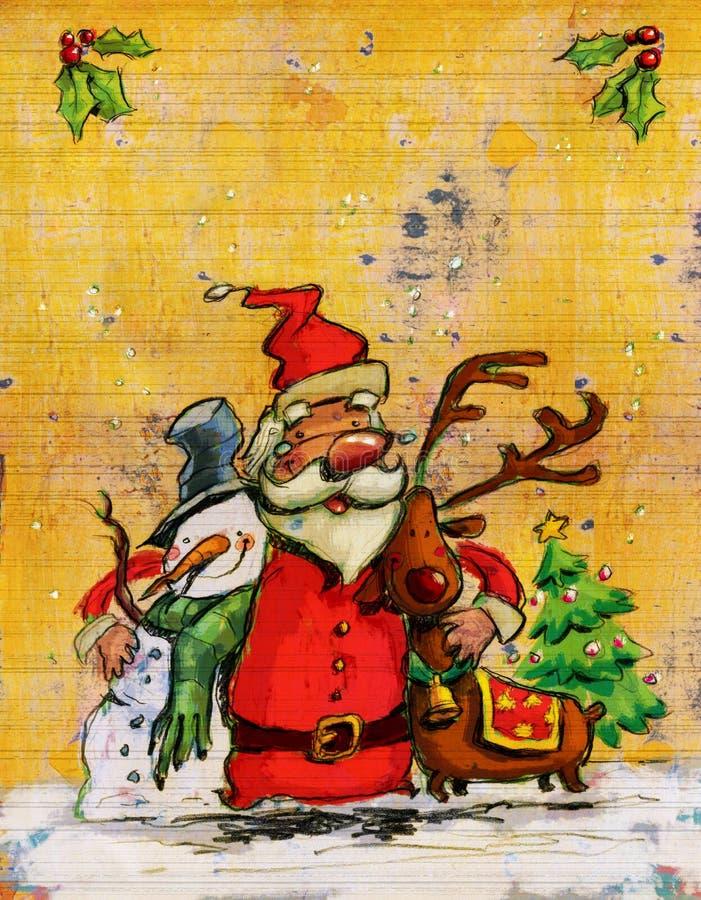 Kreskówki Święty Mikołaj bożych narodzeń duży uściśnięcie z bałwanem i reniferem ilustracji
