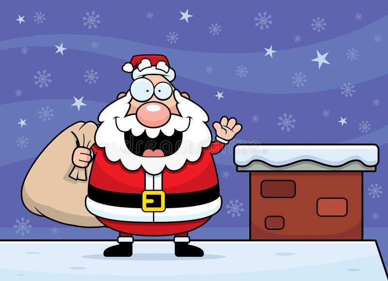 Kreskówki Święty Mikołaj dach ilustracja wektor