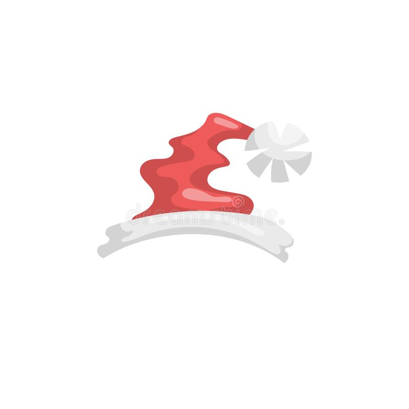 Kreskówki Święty Mikołaj kapeluszu stylowa ikona Tradycyjny xmas kostiumu symbol ilustracji
