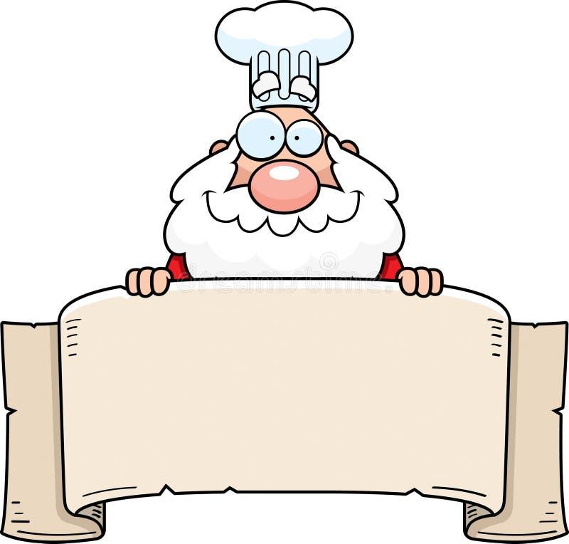 Kreskówki Święty Mikołaj szefa kuchni sztandar royalty ilustracja