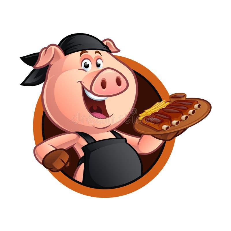 Kreskówki świni szef kuchni ilustracji