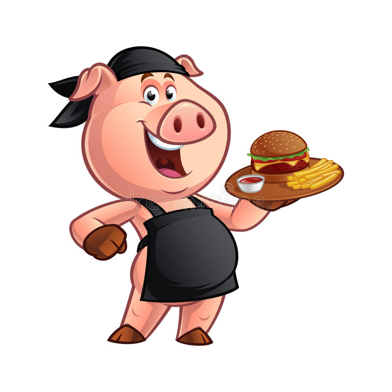 Kreskówki świni szef kuchni royalty ilustracja